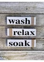 Amazon Com Rustic Bathroom Signs Wash Relax Soak Horizontal White Farmhouse Wooden Signs For Bathroom Decor Primitive Wood Signs Set Of Three Handmade