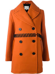 3 1 phillip lim whipstitch peacoat yellow orange 220 women clothing coats double ted peacoats
