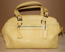 Authentic COACH Hampton 5031 Soft yellow Pebbled Leather Zipper Tassel  Satchel