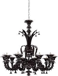 eurofase 16661 021 orillia 10 light venetian chandelier in black shown without bottom assembly
