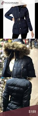 michael kors faux furtrim belted down puffer coat beautiful michael michael kors faux fur trim belted down puffer coat blue xs