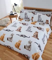 fusion cats fun funky easy care duvet cover bedding set multi
