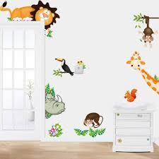 aliexpresscom buy tropical jungle animals wall stickers decal kids monkey deer forest vinyl wallpaper baby nursery home room conner door diy decor from bedroom cool bedroom wallpaper baby nursery