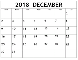Free Sample December 2018 Calendar Template | December 2018 Calendar ...