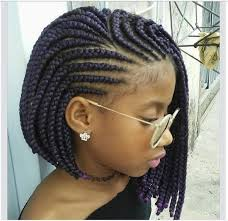 we love how this lady used a purple braid it gives the hair such a stunning finishing cornrow bob hairstyle