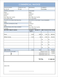 Printable Commercial Invoice Commercial Invoice Form Template