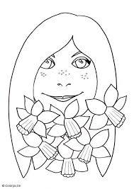 Kleurplaat Meisje Met Paasbloemen Afb 5669