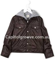 armani junior jackets jersey hood faux leather jacket brown boys clothing 2505628