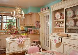 captivating vintage style kitchen design with fancy chandelier as well pink fl dining table cover plus blue painting wall and wooden countertop over