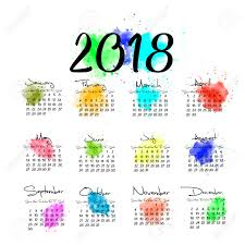 one page calender a scalable vector calendar for the year 2018 all on one page