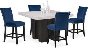 dining room furniture artemis counter height dining table and 4 upholstered stools blue