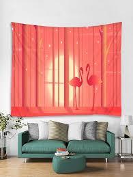 valentine s day flamingo print tapestry wall hanging art decoration flamingo pink w71 x l91 inch