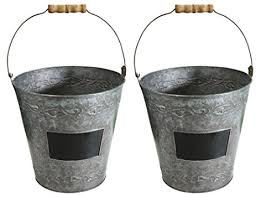 9.5 in Decorative Metal Garden Bucket with Wood Handle, Set of Two Product  SKU: