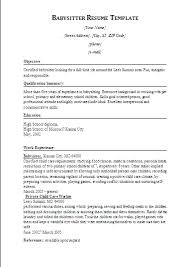 Babysitting Resume Templates Sample Nanny Resumes Basitting Resume Sample  Nanny Resume Free