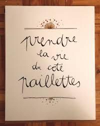 La Vie Cote Paillettes French Lessons Quote