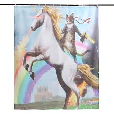 funny shower curtain. Cartoon Funny Unicorn And Cat Polyester Fabric Waterproof Shower Curtain 150x180cm Bathroom