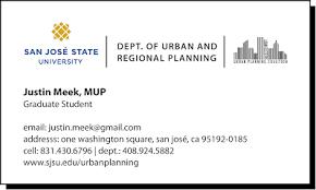 Student Business Card Urban Planning Coalition Sjsu