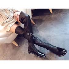 2019 winter fall womens black stretch leather silver chains trim patent cap toe over the knee thigh high tall zip up boots fringe boots boot socks from