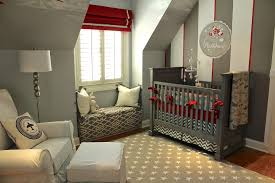 Baby Boy Nursery Ideas With Window Blinds And How To Decorate A Window Seat  Also Dark Gray Crib Plus White Armchair And White Ottoman Also Red Roman  Shade ...