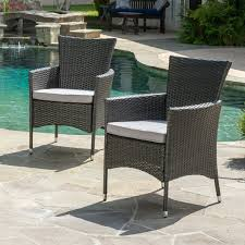 black wicker dining chairs. Clementine Outdoor Wicker Dining Chairs Set Of Black Patio S