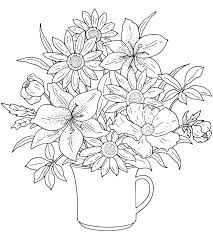 Flower Pot Coloring Page Printable Simple Flower Coloring Pages