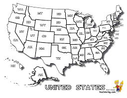 Small Picture Coloring Page of United States Map with States Names at