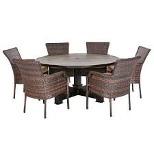 grayson brown 7 piece wicker round outdoor dining set with olefin toffee cushions