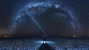 Stars Night Sky Scenery Man Silhouette ...