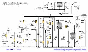 electric bass guitar headphone amp schematic diagram and parts list electric bass guitar headphone amp stereo auxiliary input schematic diagram