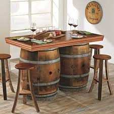 reclaimed wine barrel bar island set enthusiast whiskey sink diy table modern home furniture cabinet