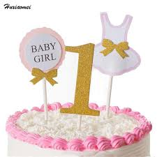 Huxiaomei 3pcs Cake Topper Flag Baby Boy Girl 1 Year Old Age Happy