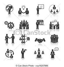 人々 セット ミーティング ビジネス アイコン
