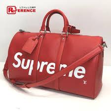 authentic louis vuitton louis vuitton x supreme keepall bandouliere 45 duffle bag 17aw supreme louis