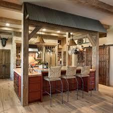 Rustic Farmhouse Kitchens Rustic Farmhouse Kitchen Large Wood Beams Wicker Bar Stools Red