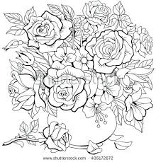 Bouquet Of Flowers Coloring Page Bouquet Of Different Flowers