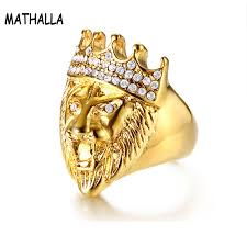 Punk Jewelry Men Lion Head Ring Stainless Steel Crown with ...
