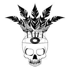 Fototapeta Tetování Lebka S Peřím Koruna Kreslení Vektorové Ilustrace Grafický