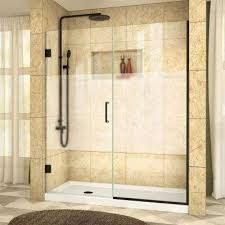 frameless hinged shower door with half frosted