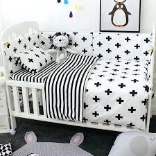 modern black crib white stripe plus sign bedding 1 7 piece