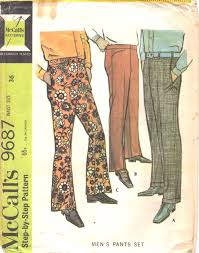 Mens Pants Pattern Adorable McCalls 48 48s Mens Pants Pattern Bell Bottoms Cuffed And Etsy