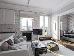 30 White Brick Wall Interior Designs  Home Designs  Design White Brick Wall Living Room