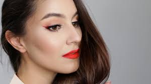 christmas makeup ombre winged liner red lip tutorial