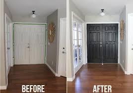 black door before and after painting inside of front door black