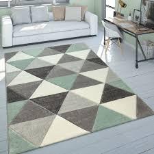Kurzflor Teppich Dreieck Muster Grün