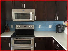 Fascinating Modern Style Kitchen Backsplash Glass Tile Dark Cabinets