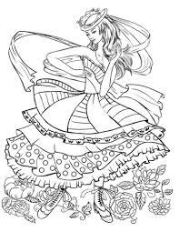 Disegno Di Ragazza Che Balla In Abito Alla Moda Vintage Da Colorare