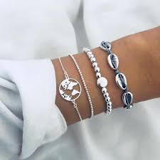 6 <b>Pcs</b>/<b>Set</b> Simple Link Chain Bracelet Set for Women Gold <b>Sea</b> Shell ...
