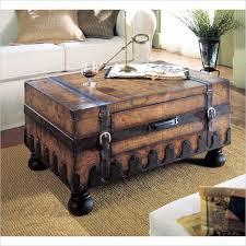 <b>Solid</b> Wood Coffee Table Vintage Treasure Chest <b>Storage Trunk</b> ...