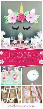 Swoon over this wonderful unicorn birthday party. The unicorn backdrop with  the paper flowers is