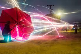 picturelong exposure pic of bottle rockets shot at an umbrella